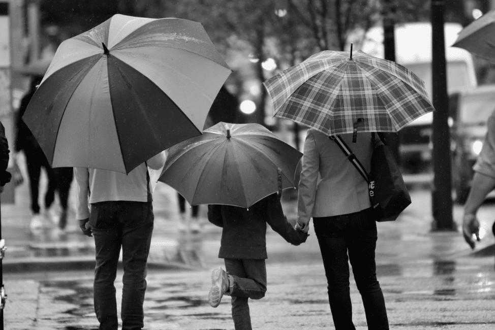Family in Vancouver Umbrellas